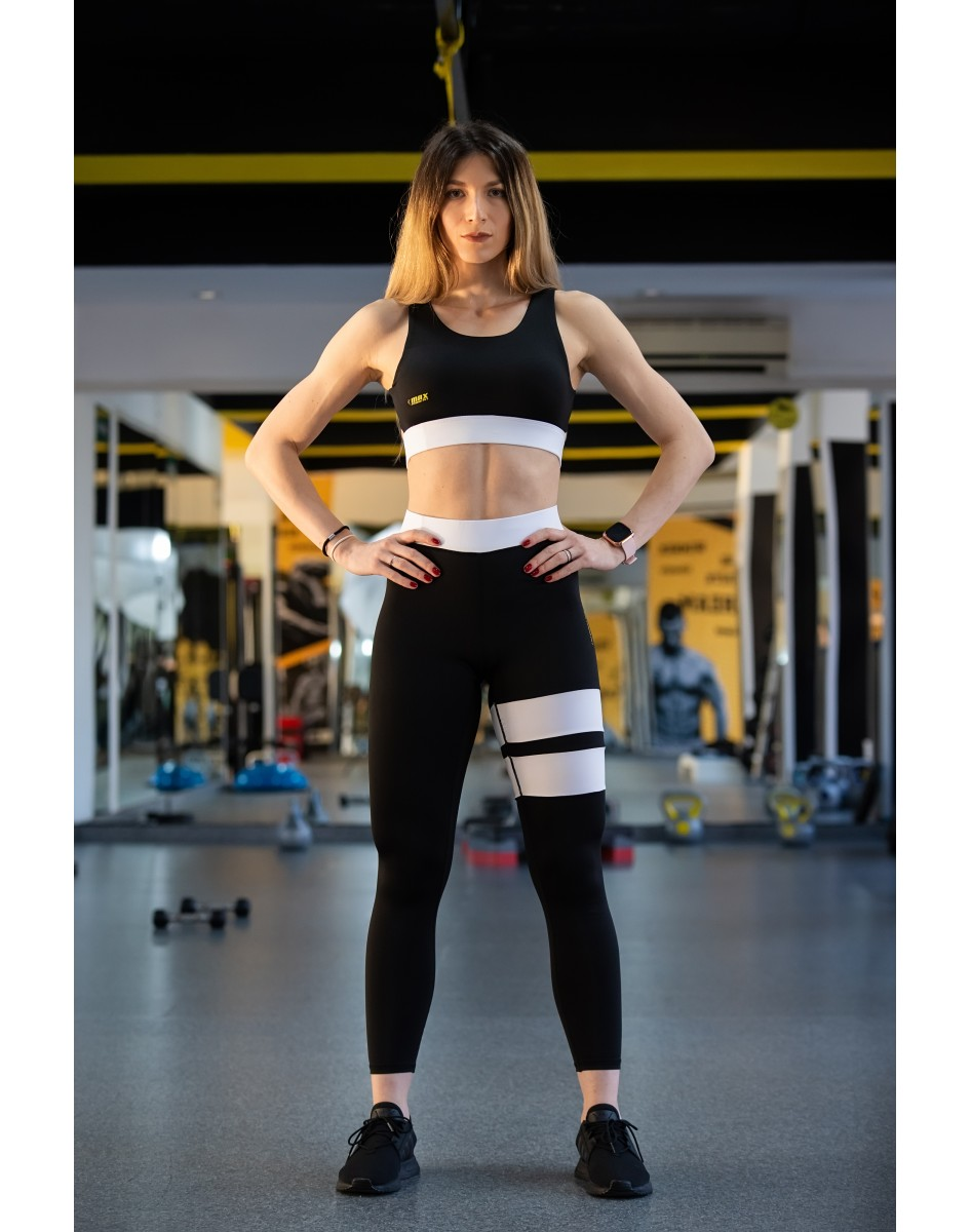 Set Fitness  - Set Colanti +Bluza ALB/NEGRU