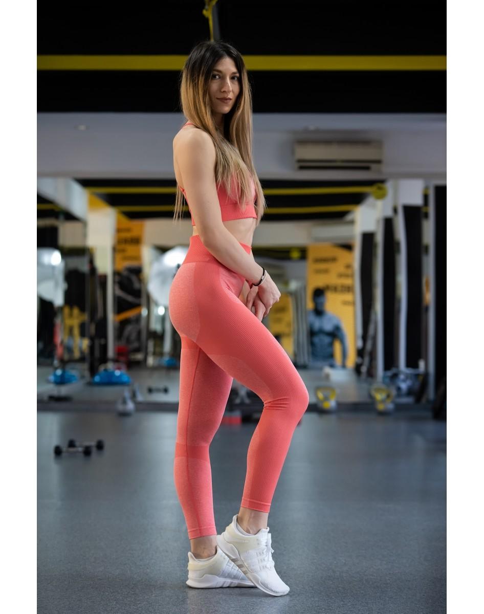 Set Fitness - Colanti +Bluza PORTOCALIU